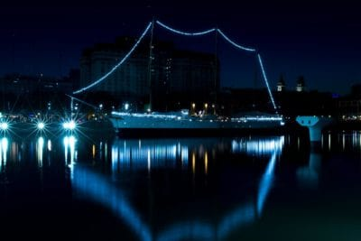bridge, city, waterfront, shadow, reflection, water, architecture, night
