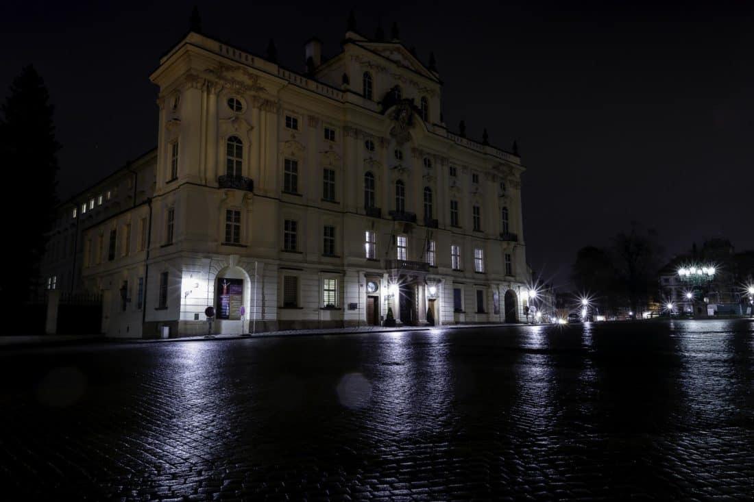 Architektura, miasto, noc, budynek, cień, Pałac, residence