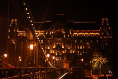 bridge, city, night, building, dark, architecture, structure, river