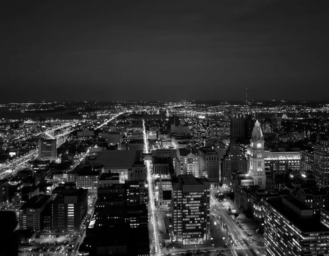 ciudad, paisaje, noche, monocromo, oscuridad, arquitectura, panorámica, urbano, aéreo