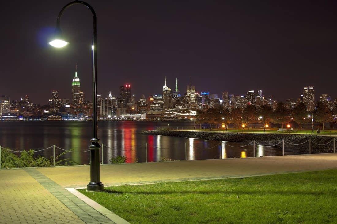 Şehir, karanlık, mimari, çim, cityscape, nehir, gökyüzü, şehir