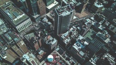 Miasto, architektura, centrum miasta, budynku, street, antena, downtown