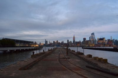 water, river, city, pier, dusk, downtown, sky, outdoor