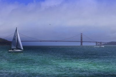 water, watercraft, sailboat, ocean, sea, sail, ship, brisge, town