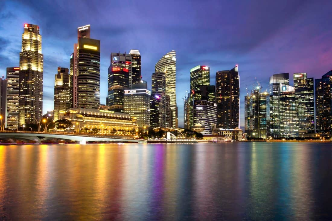 grad, gradski pejzaž, noć, šareni, u centru grada, arhitektura, sumrak, urbane