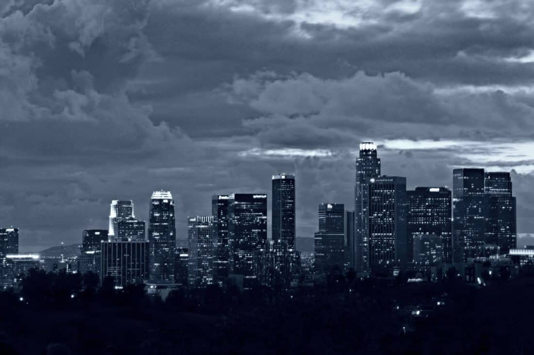 city, cityscape, architecture, building, downtown,storm,  sky, night
