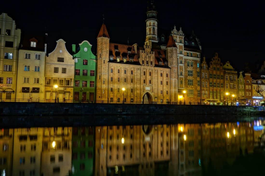 Architektúra, mesto, noc, fasáda, rieka, palác, budova, downtown