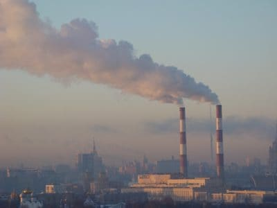 fumée, pollution, smog, ciel, tour, condensation, industrie