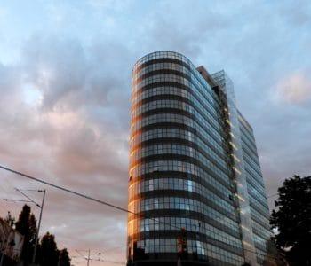 moderna, città, architettura, costruzione, urbano, moderno, in centro, Torre, cielo blu