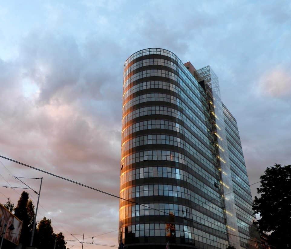 модерен, град, архитектура, сграда, градски, модерни, центъра, кула, синьо небе