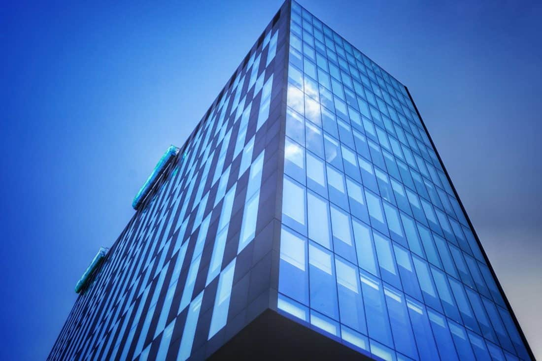 building, architecture, blue sky, facade, downtown, futuristic, modern, contemporary
