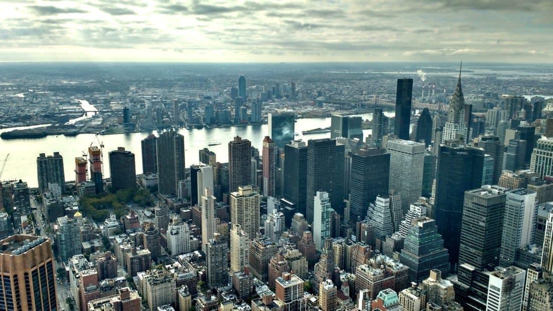ciudad, paisaje urbano, centro de, cielo, nubes, edificio, arquitectura, urbano, moderno