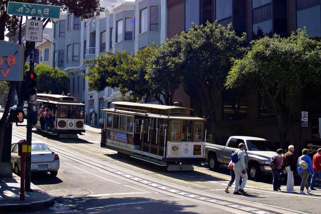 улица, град, автобус, трамвай, трамвай, превозно средство, шосе, Открит