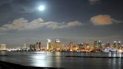 stad, vatten, arkitektur, urbana, stadsbilden, moonlight, downtown, solnedgång