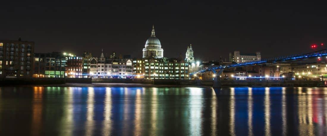 ciudad, arquitectura, construcción, río, paisaje, agua, atardecer, noche