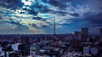 stad, architectuur, cloud, stadsgezicht, blauwe hemel, centrum, stad