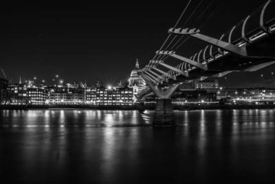 bridge, city, water, monochrome, river, urban, reflection, architecture
