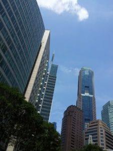 Architektura, města, města, budovy, fasády, modrá obloha, panoráma města, věž, moderní