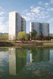 Reflexion, Architektur, Gebäude, Tageslicht, außen, Stadt, Wasser, Himmel, Stadtbild
