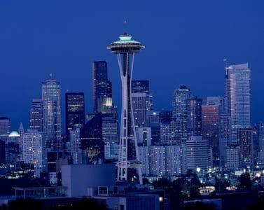 staden, arkitektur, torn, landmark, stadsbilden, skymning, downtown, sky, natt
