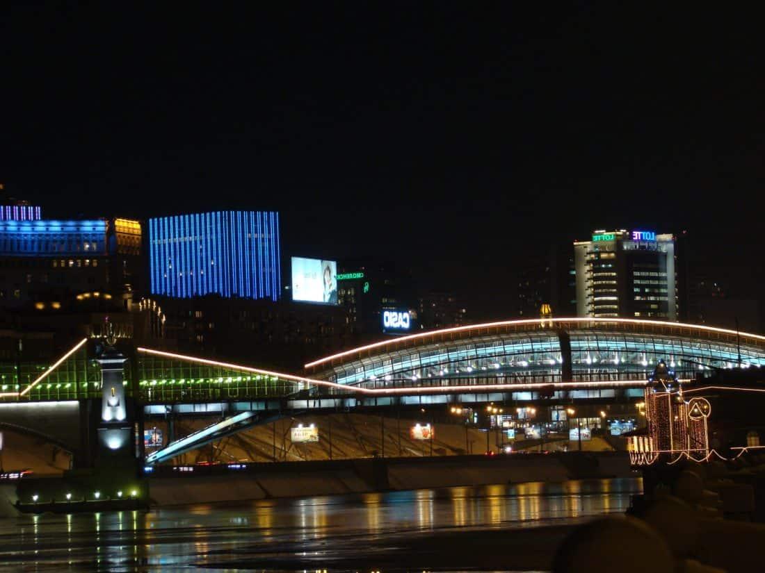 bridge, dusk, city, architecture, night, river, water, sky