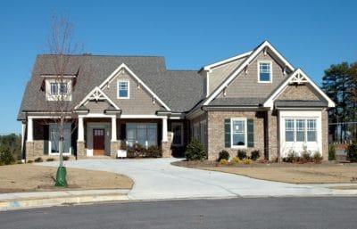 domov, dům, fasády, příjezdové cesty, předměstí, suburban, vchod, trávník, asfalt