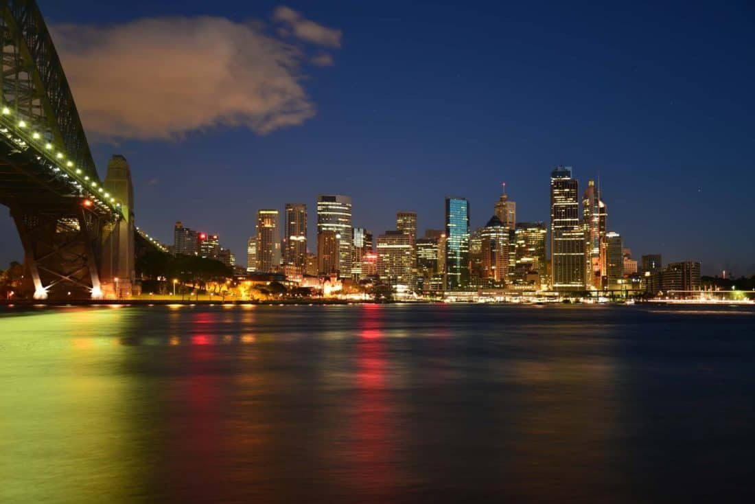 city, architecture, urban, night, cityscape, downtown, bridge, dusk