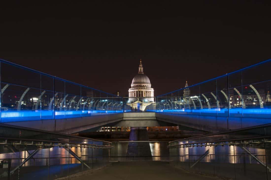 bridge, city, architecture, landmark, dusk, building, metropolis, darkness, urban, water