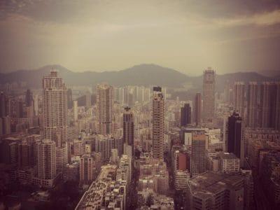 ciudad, arquitectura, paisaje, niebla, cielo, torre centro, urbana,