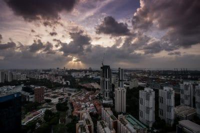 ville, paysage urbain, nuage, sombre, urbaine, centre-ville, coucher de soleil, architecture, ciel