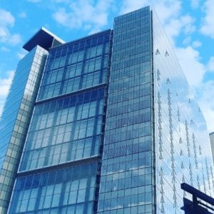 architecture, downtown, reflection, blue sky, facade, exterior, futuristic, modern