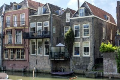 architecture, house, facade, exterior, home, old, brick, canal, outdoor