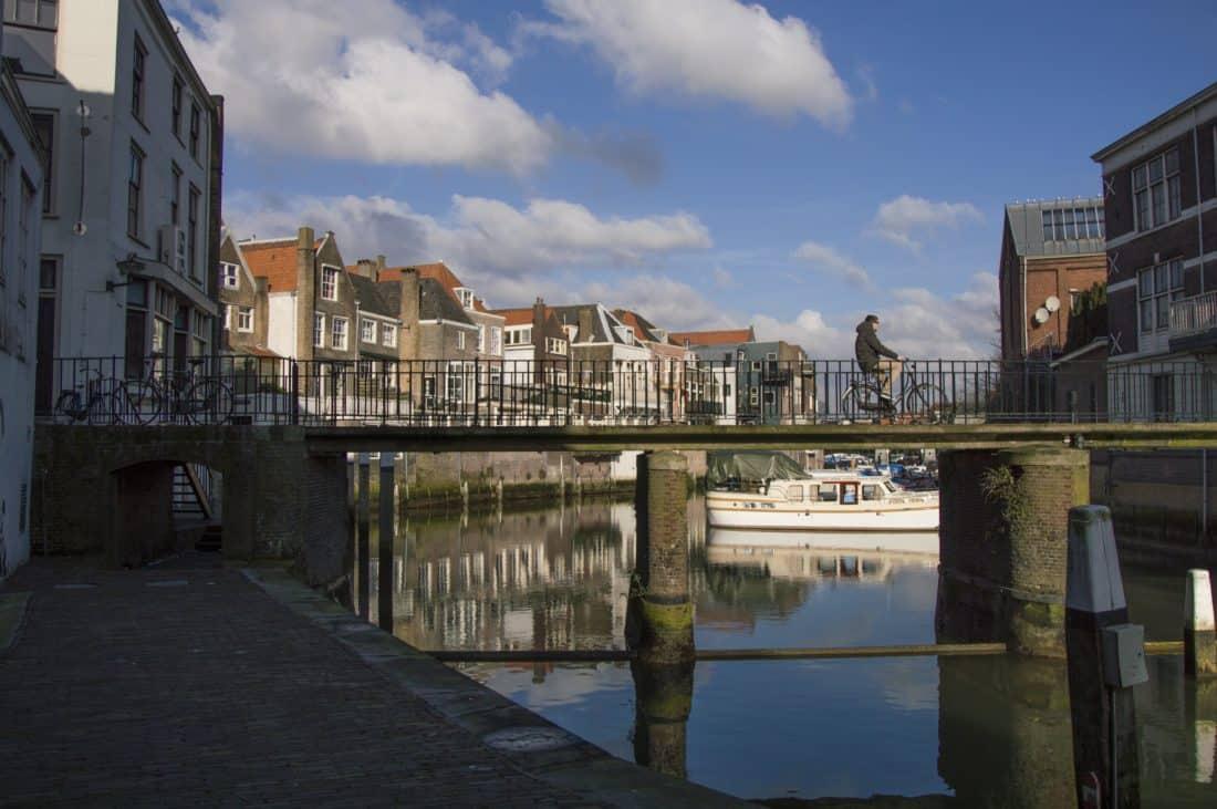 arquitectura, puente, azul cielo, urbano, agua, canal, río, nubes, paseo marítimo
