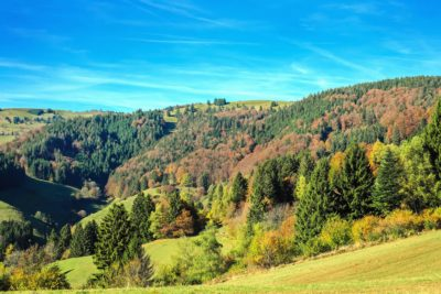 landscape, nature, tree, mountain, sky, autumn, colorful, hill, horizon
