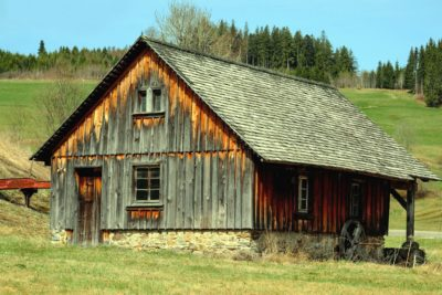 štagalj, kuća, drvo, farmi, kabina, nebo, krov, trava