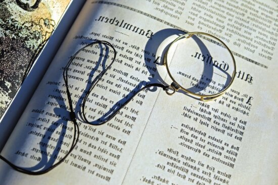book, document, paper, bookmark, text, magnifying glass, science