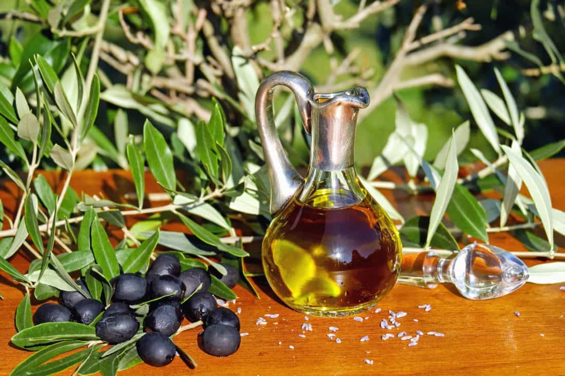 leaf, organic, decoration, herb, olives, oil, food, bottle, still life