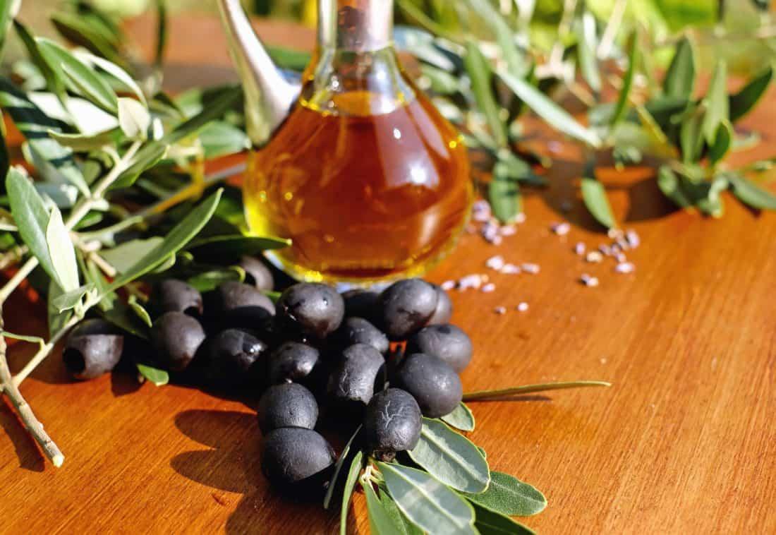 leaf, oil, glass, food, wood, bottle, olive, fruit, table