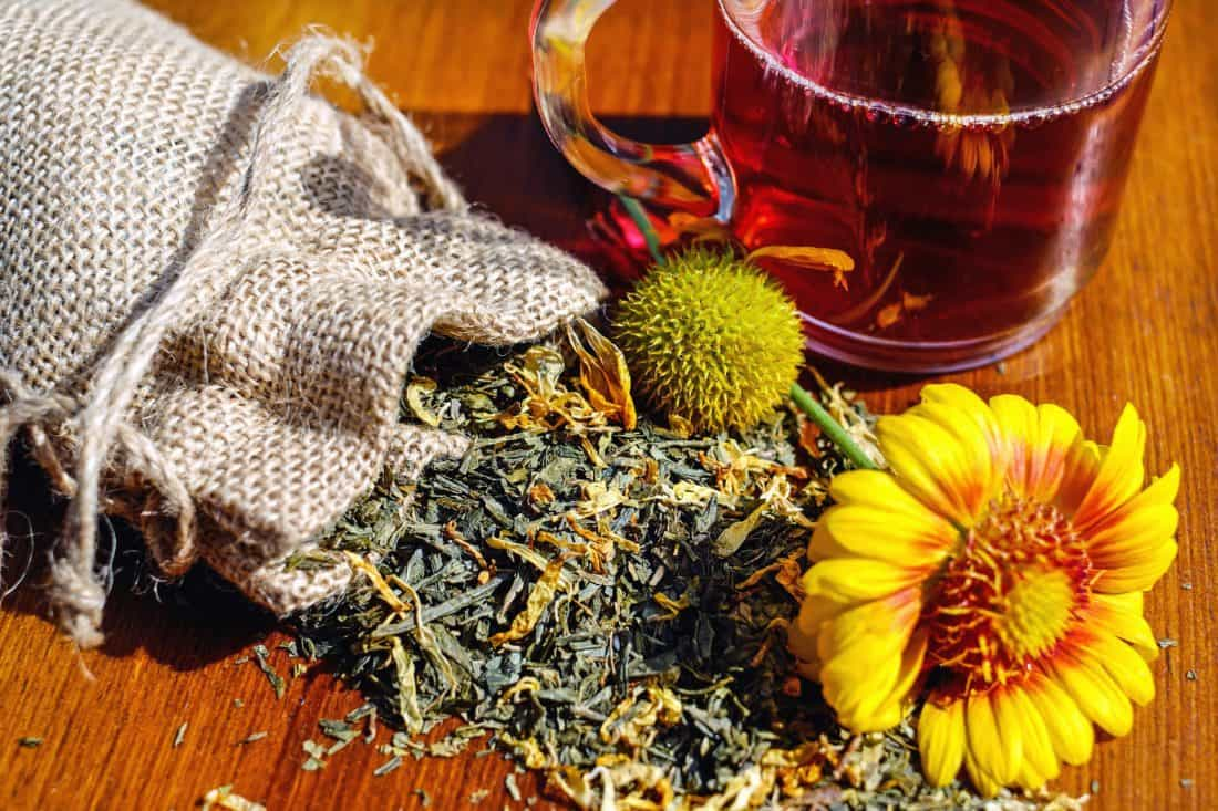 bevande, tè, tabella, pianta, natura morta, fiore, sacchetto, decorazione
