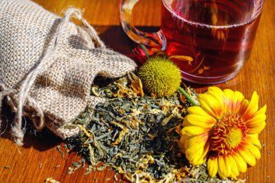 drink, tea, table, plant, still life, flower, bag, decoration