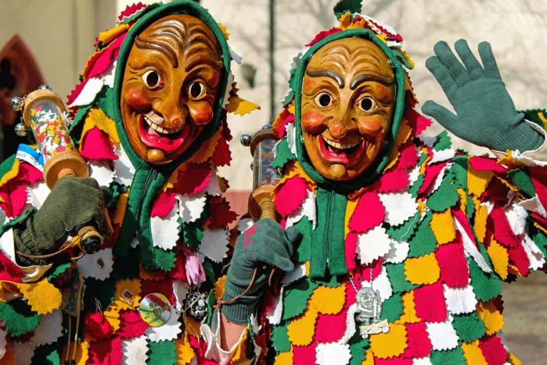 Festival, costume, maschera, abbigliamento, strada, persona