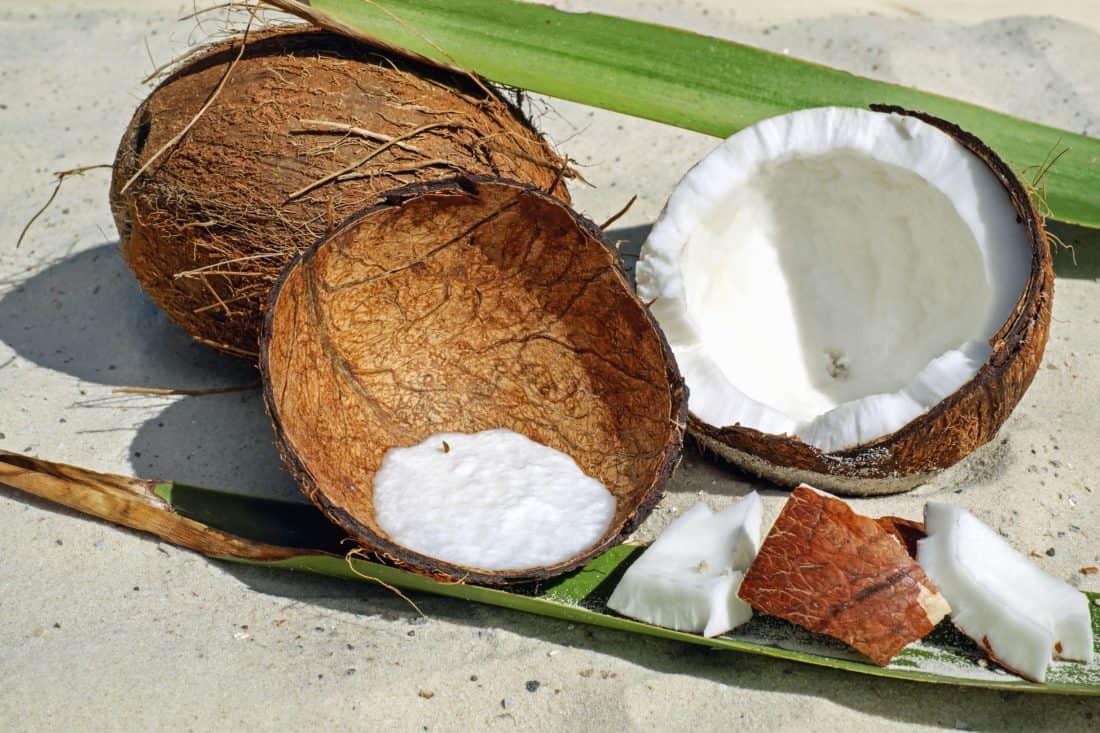 dřevo, ovoce, hnědé, kokos, lahodné, potraviny, strava, písek