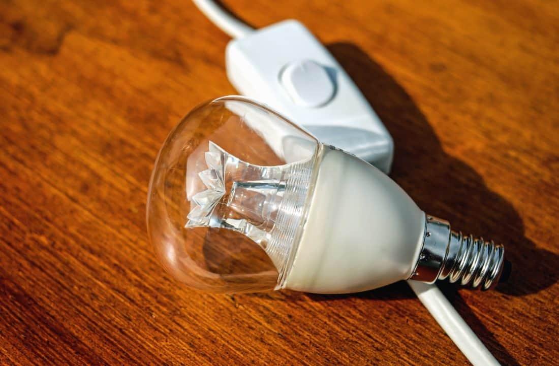bulbo, eléctrica, vidrio, metal, mesa, interruptor, cable