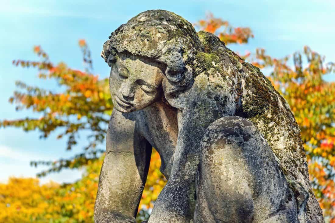 stone, art, blue sky, sculpture, statue, leaf, tree, marble