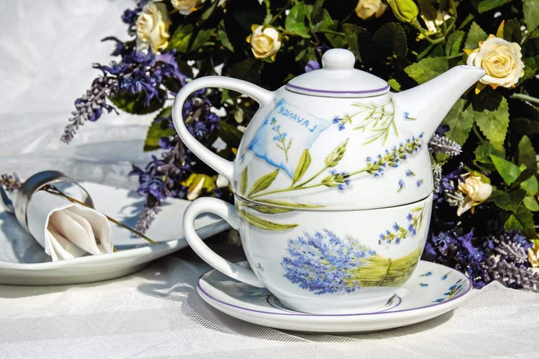 thé, boisson, tasse, théière, pot, céramique, fleur, soucoupe
