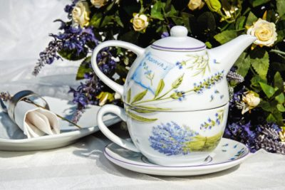 tea, drink, cup, teapot, pot, ceramic, flower, saucer