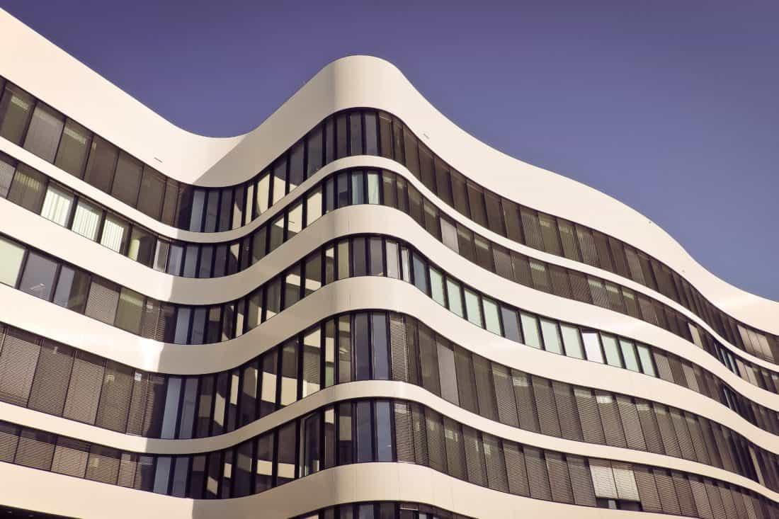 arquitectura contemporánea, construcción, ciudad, centro de la ciudad moderna, futurista, fachada