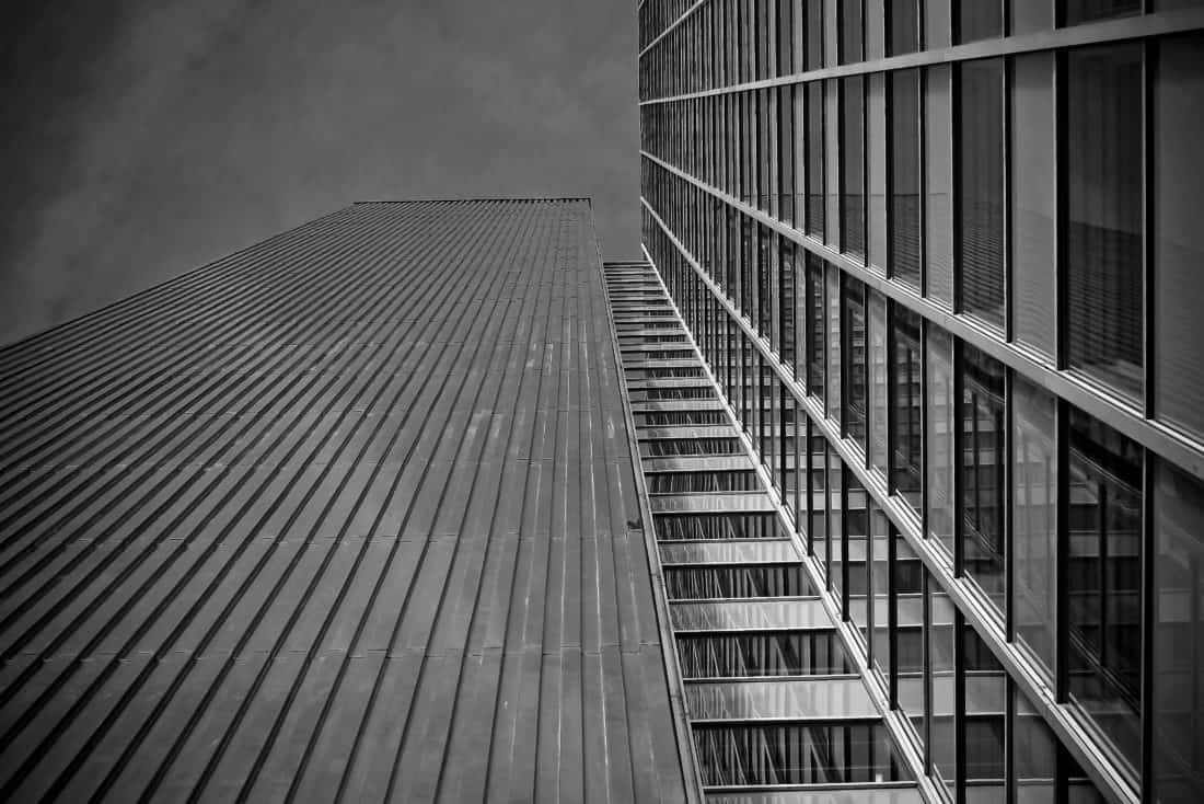 thành phố, đơn sắc, thép, kiến trúc, cấu trúc, khu đô thị, kính