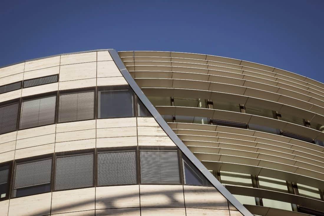 kontemporer, baja, bangunan, fasad, futuristik, langit, arsitektur, modern