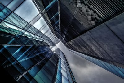 Gebäude, Fassade, moderner, urbaner, Architektur, Reflexion, Perspektive, Stahl, Stadt